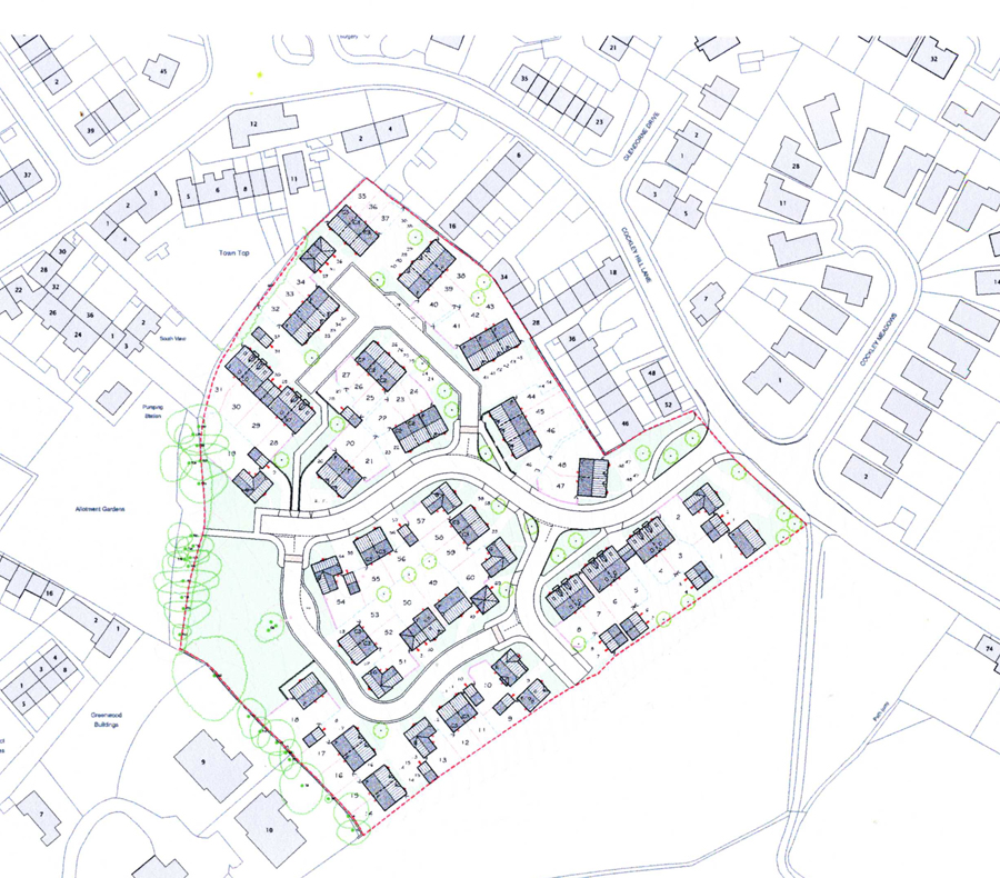 Proposed housing off Cockley Hill