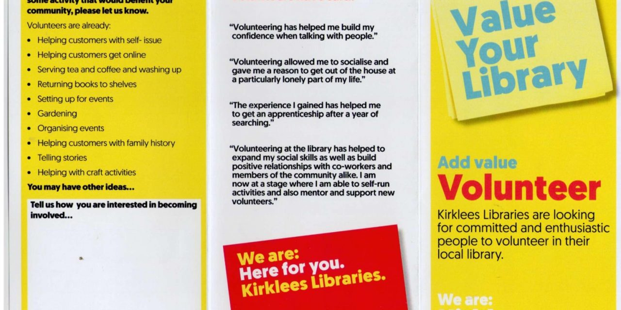 New  library volunteers wanted