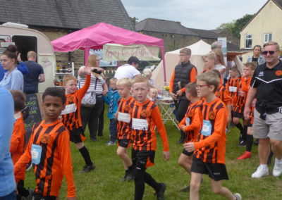 Members of Kirkheaton Youth Football Club coming to join in the fun